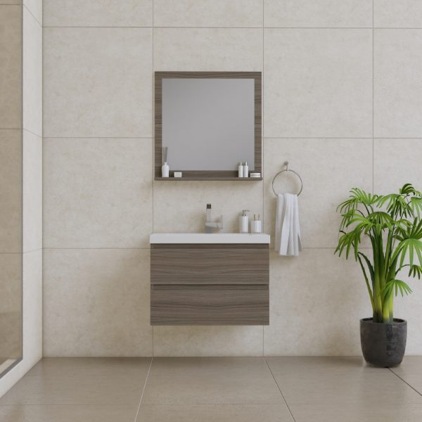 Alya Bath Paterno 30 Inch Wall Mount Bathroom Vanity Gray