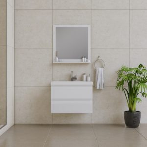 Alya Bath Paterno 30 Inch Wall Mount Bathroom Vanity White