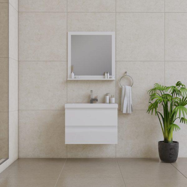 Alya Bath Paterno 30 Inch Wall Mount Bathroom Vanity White