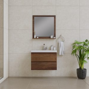 Alya Bath Paterno 30 Inch Wall Mount Bathroom Vanity Rosewood