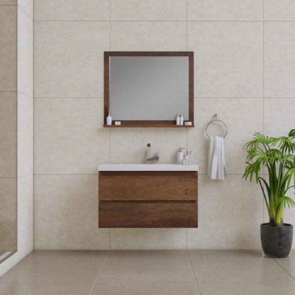 Alya Bath Paterno 36 Inch Wall Mount Bathroom Vanity Rosewood