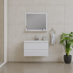 Alya Bath Paterno 36 Inch Wall Mount Bathroom Vanity White