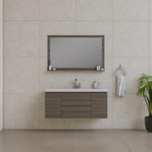 Alya Bath Paterno 48 inch Wall Mount Bathroom Vanity Gray