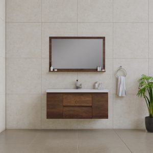 Alya Bath Paterno 48 inch Wall Mount Bathroom Vanity Rosewood