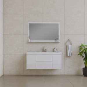 Alya Bath Paterno 48 inch Wall Mount Bathroom Vanity White