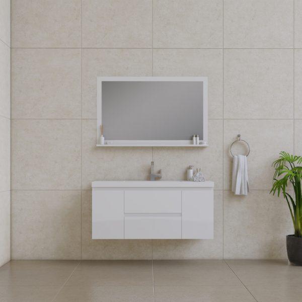 Alya Bath Paterno 48 inch Wall Mount Bathroom Vanity White