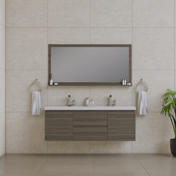 Alya Bath Paterno 60 inch Double Wall Mount Bathroom Vanity Gray