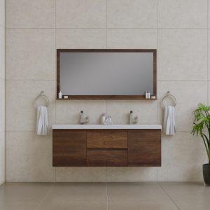 Alya Bath Paterno 60 Inch Double Wall Mount Bathroom Vanity Rosewood