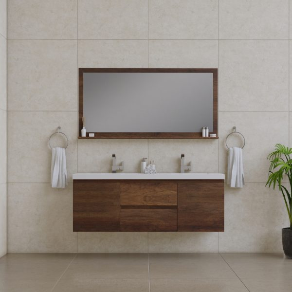 Alya Bath Paterno 60 Inch Double Wall Mount Bathroom Vanity Rosewood