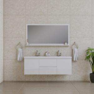 Alya Bath Paterno 60 Inch Double Wall Mount Bathroom Vanity White