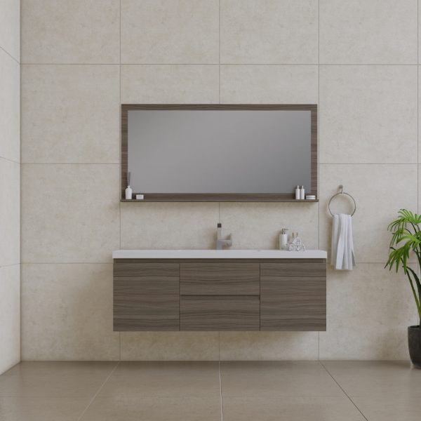 Alya Bath Paterno 60 inch Single Wall Mount Bathroom Vanity Gray