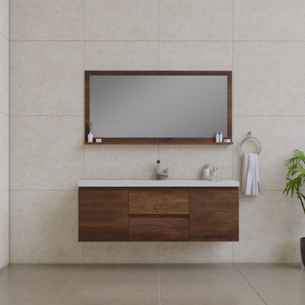 Alya Bath Paterno 60 Inch Single Wall Mount Bathroom Vanity Rosewood