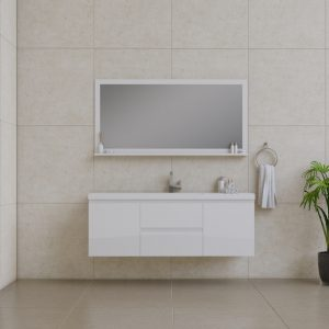 Alya Bath Paterno 60 Inch Single Wall Mount Bathroom Vanity White
