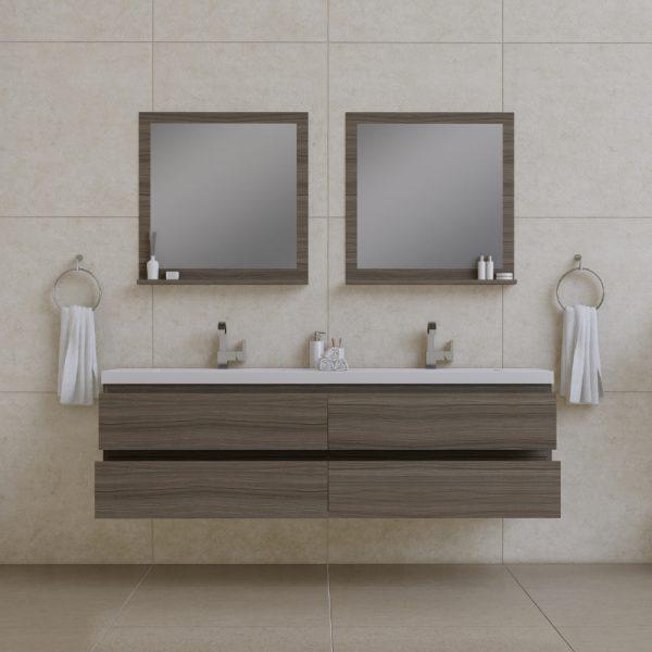Alya Bath Paterno 72 inch Wall Mount Bathroom Vanity Gray