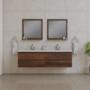 Alya Bath Paterno 72 inch Wall Mount Bathroom Vanity Rosewood
