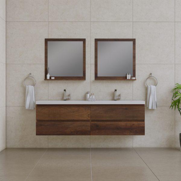Alya Bath Paterno 72 inch Wall Mount Bathroom Vanity Rosewood