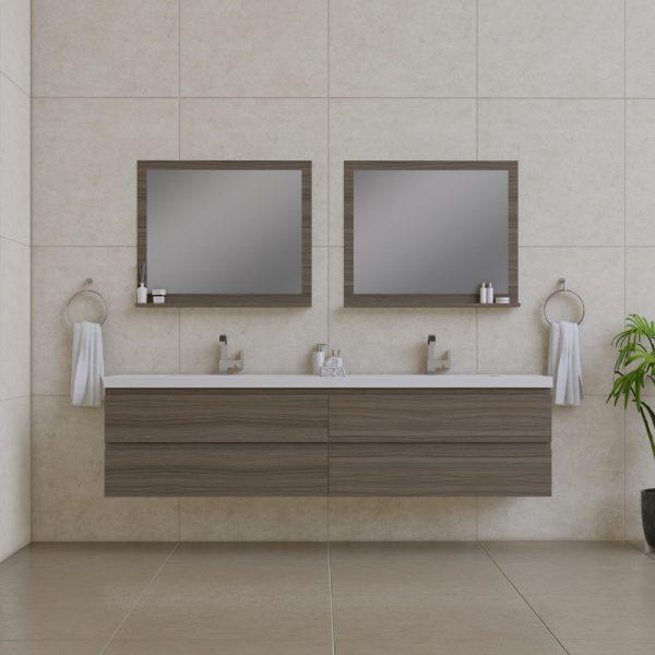 Alya Bath Paterno 84 inch Wall Mount Bathroom Vanity Gray