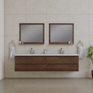 Alya Bath Paterno 84 inch Wall Mount Bathroom Vanity Rosewood