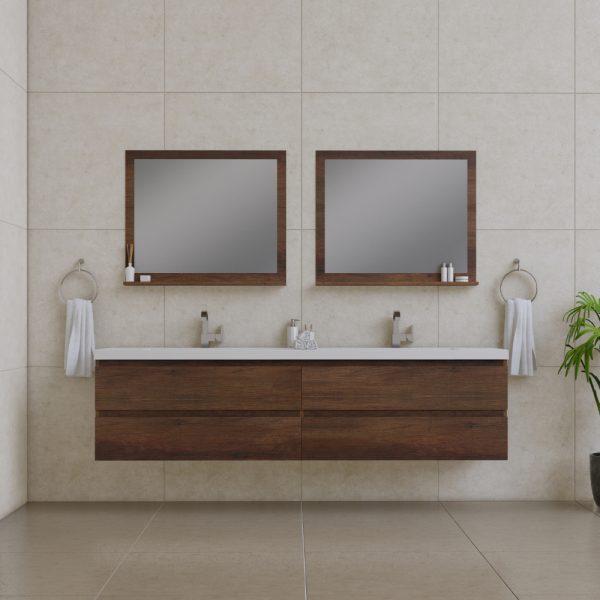 Alya Bath Paterno 84 inch Wall Mount Bathroom Vanity Rosewood